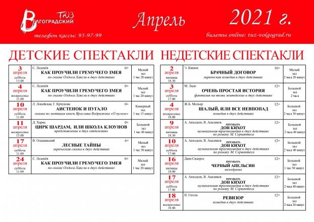 Репертуар апрель 2021 года